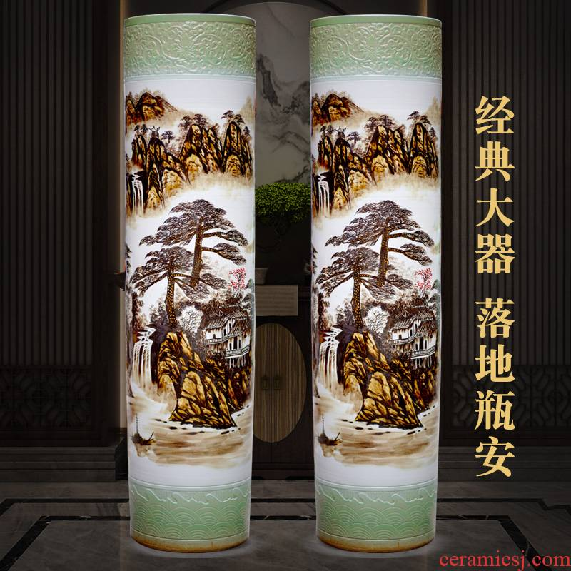 Jingdezhen ceramic hand - made landscape painting of large vase furnishing articles hotel lobby porch opening gifts