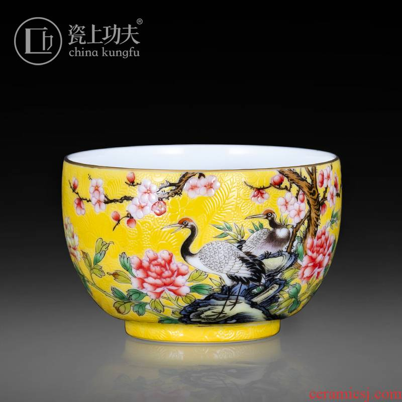 Jingdezhen ceramic spent (hand - made steak crane master cup kung fu tea light cup tea sample tea cup single cup collection level