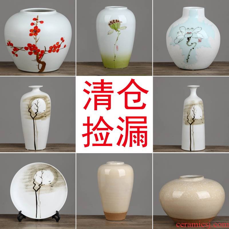 Clearance of jingdezhen ceramic vases, flower arrangement of new Chinese style living room wine rich ancient frame home furnishing articles