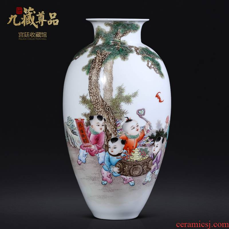 Jingdezhen ceramics dong - Ming li hand - made lad vase Chinese style living room TV ark, flower arranging porch is decorated furnishing articles