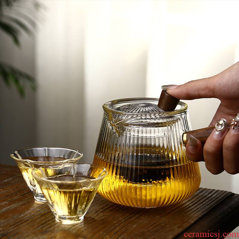Cooking pot side put the high temperature resistant glass teapot TaoLu boiled tea machine household kettle with thick glass tea set