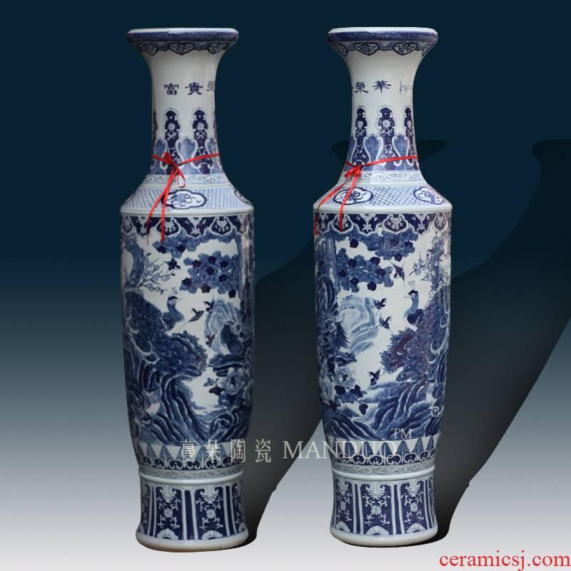 Jingdezhen blue and white phoenix hand - made admiralty big birds vase elegant style opening gifts style vase