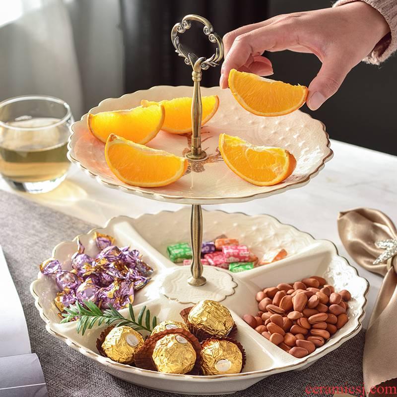 Household double American European sitting room ceramic fruit bowl cake dessert plate of multi - functional dry fructose