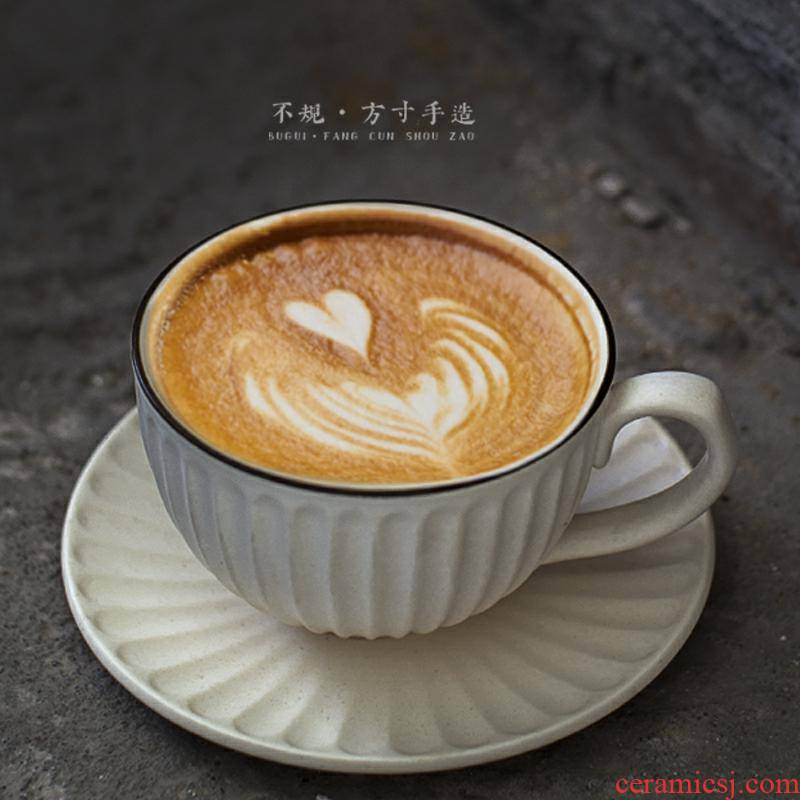 Coffee cups and saucers suit hand Japanese garland cup Europe type restoring ancient ways small key-2 luxury coarse hand ceramic Coffee cup spoon