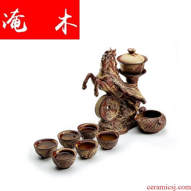 Automatic submerged wood success kung fu tea set lazy household ceramics creative stone mill make tea teapot teacup