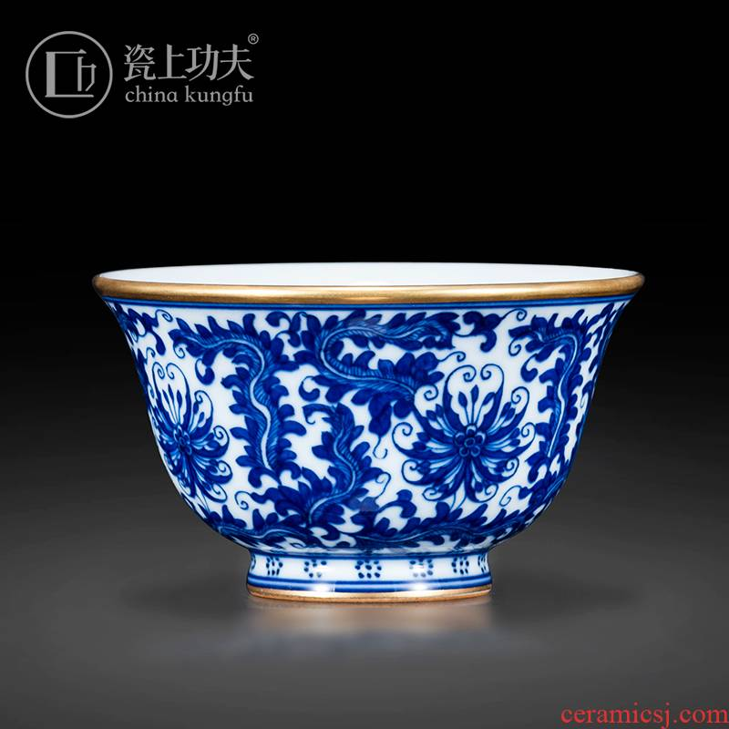 Pure hand - made porcelain of jingdezhen ceramic pressure hand cup kung fu tea cups yongle paint single cup bowl is the view