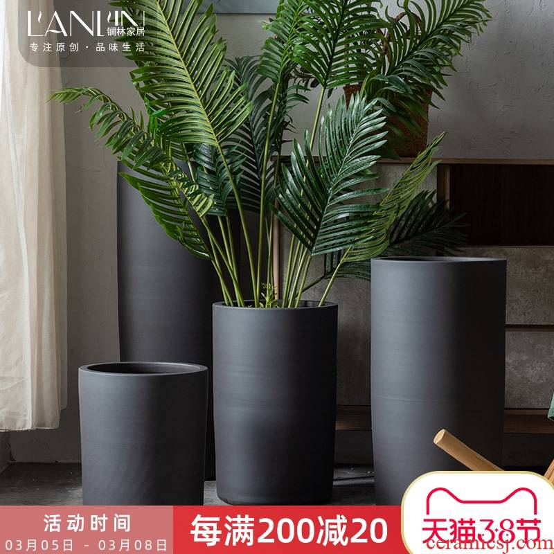 Jingdezhen ceramic flower pot Nordic contracted large clearance villa indoor decoration floor black furnishing articles vase