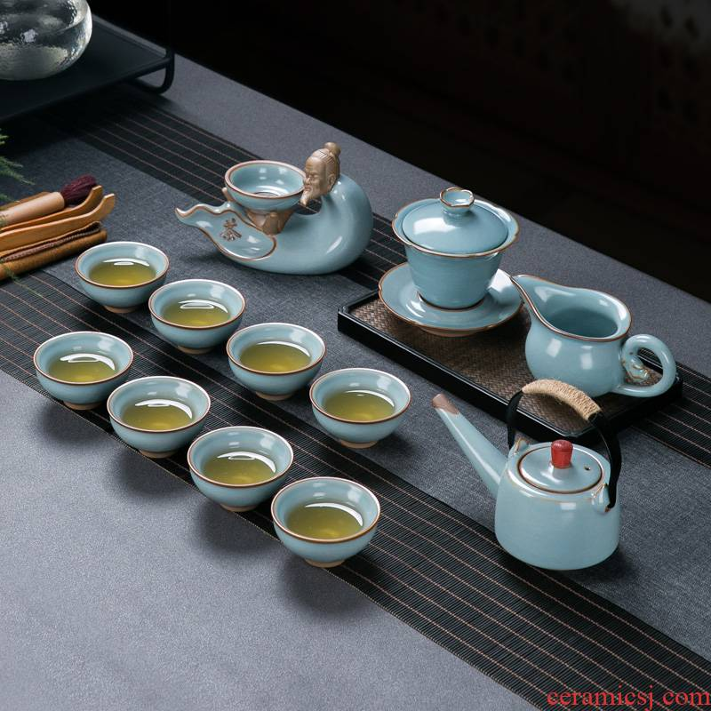 Your porcelain Your up the was set home sitting room jingdezhen ceramic kung fu tea pot lid bowl of ice to crack the small tea cups