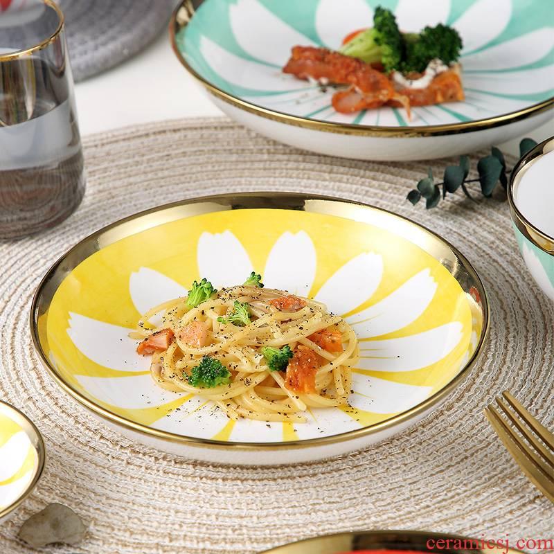 Japanese ceramic dish dish dish household creative web celebrity dish fish dish, tableware breakfast dish soup plate of jingdezhen