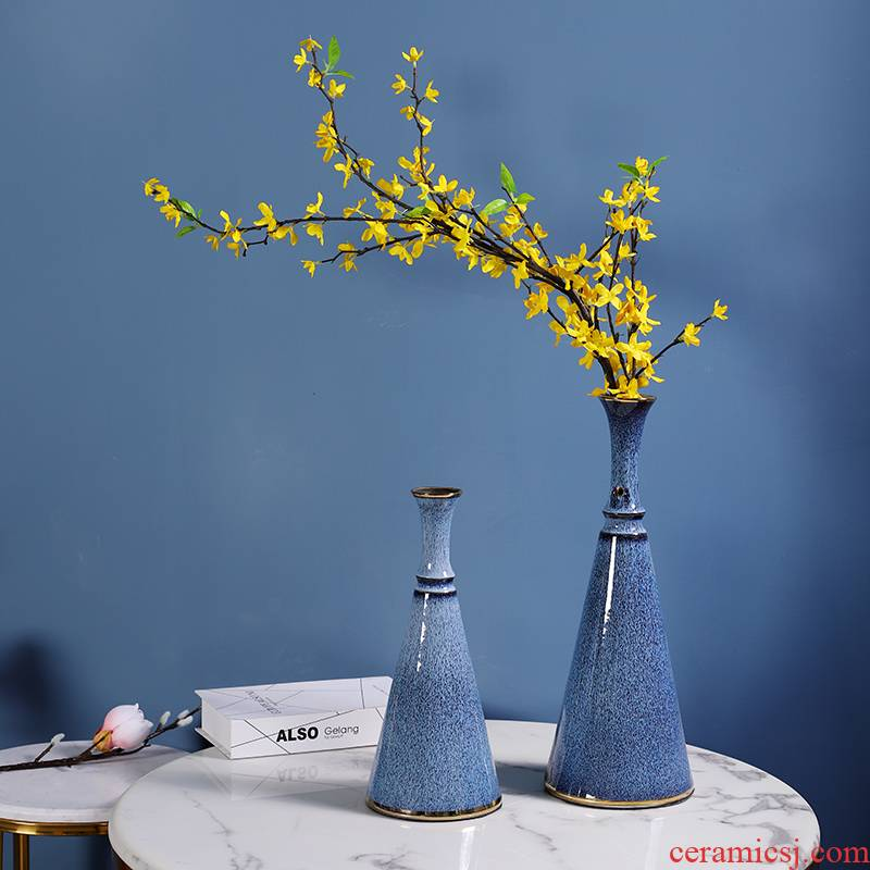 Jingdezhen color glaze vase is placed small sitting room rich ancient frame decorative Chinese pottery and porcelain vase