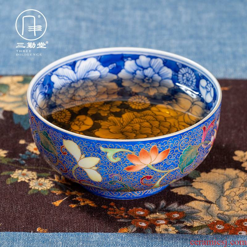 Blue and white enamel cup of jingdezhen ceramic sample tea cup three frequently hall kung fu tea master cup large cup small single CPU