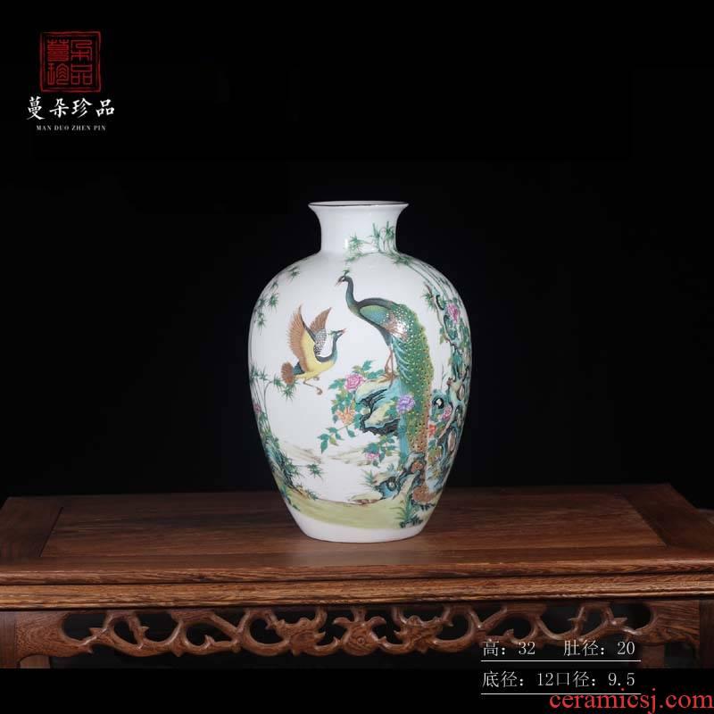 Jingdezhen phoenix vase colorful decorative porcelain ceramic furnishing articles furnishing articles sitting room reveals ark, new vase
