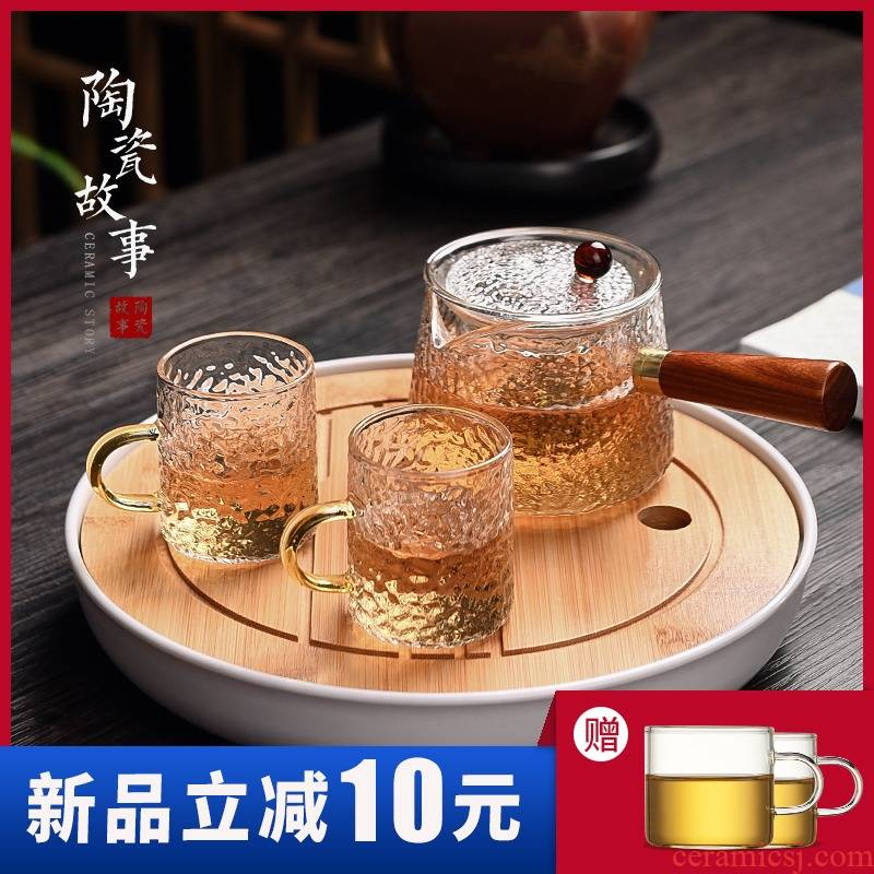 Ceramic glass teapot side story tea set suit household filters and thicken the single pot small sets of heat - resisting teapot