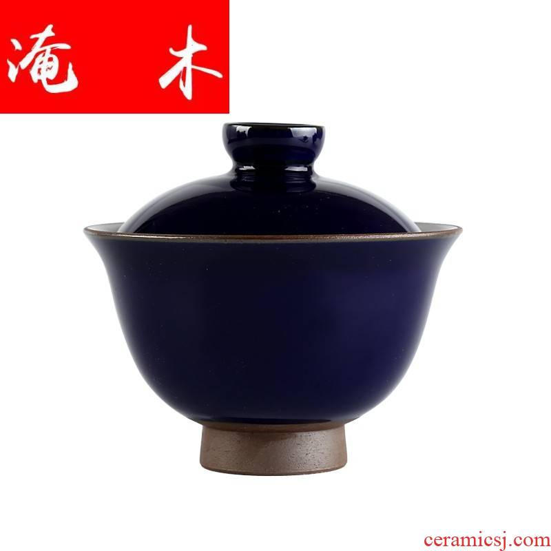 Submerged wood system of jingdezhen ceramic undressed ore offering red glaze tureen ji red glaze all hand three kung fu tea bowl to bowl