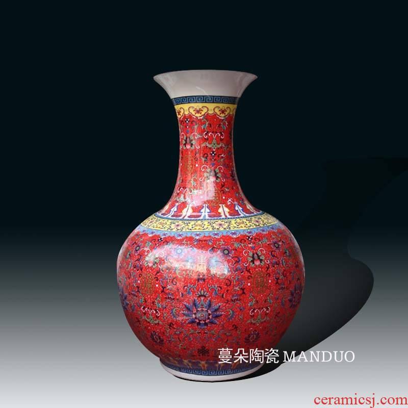Jingdezhen red tie up branch lotus ground red porcelain vase pattern porcelain decoration design 55 cm high