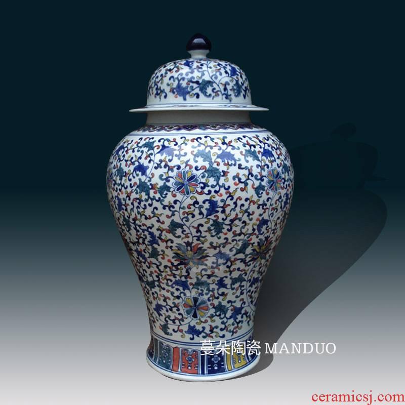 Jingdezhen general colorful porcelain pot elegant high - grade general general 40-100 cm can display as cans