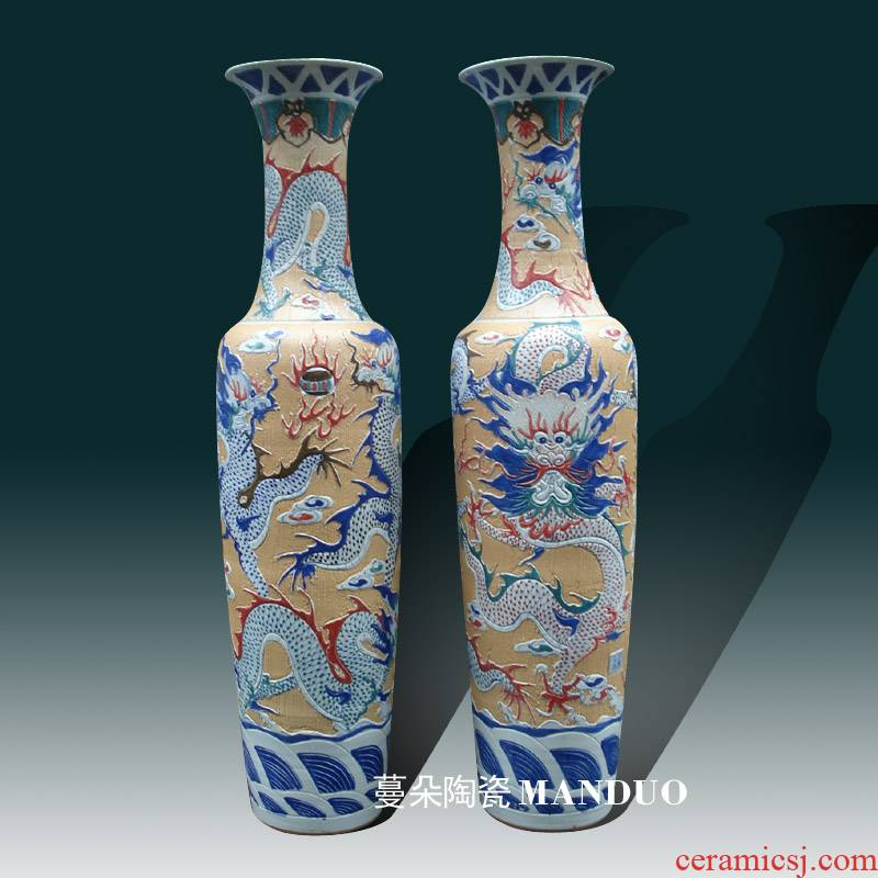 Jingdezhen concave and convex carving dragon vase of large enterprise company opening face culture gift
