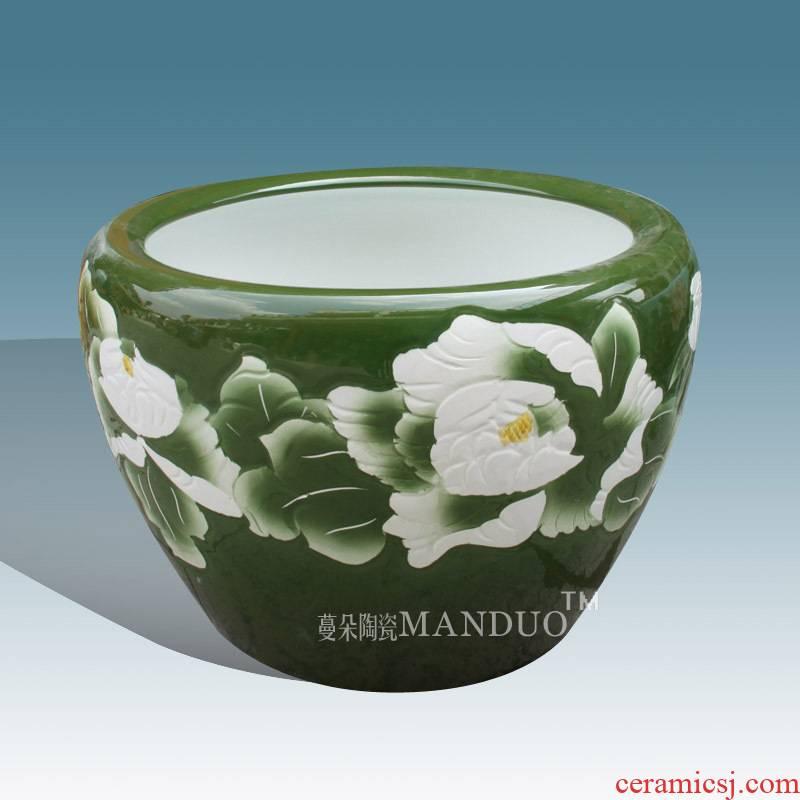 Jingdezhen ceramic art painting and calligraphy is big fish breeding goldfish, high strength ceramic cylinder green peony big cylinder cylinder