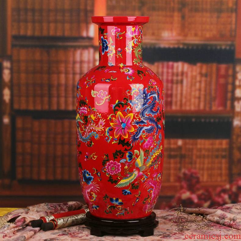 Jingdezhen ceramics glaze red in extremely good fortune China crystal fashion show big vase I household furnishing articles
