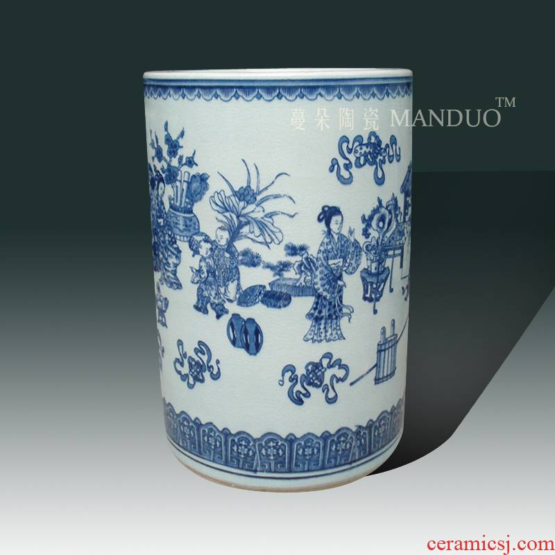 Jingdezhen blue and white porcelain archaize crack quiver straight classic blue and white classical beauty porcelain vase