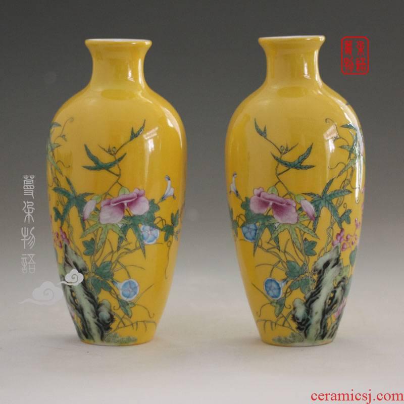 Jingdezhen in yellow powder enamel qianlong imperial porcelain vase 20 cm high rich ancient frame display high - grade powder enamel vase