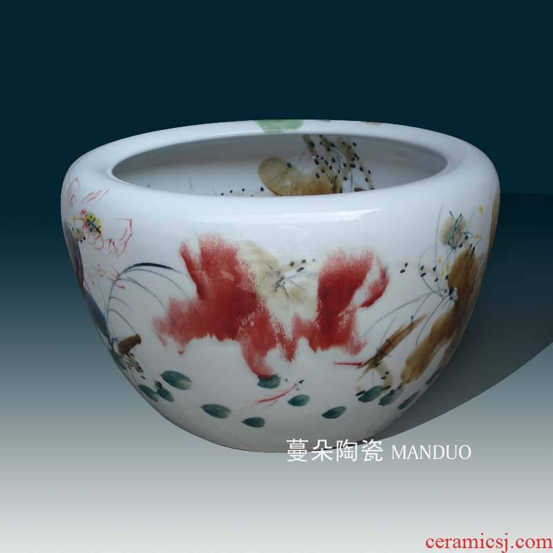 Jingdezhen ceramic aquarium high - grade culture vats lotus lotus goldfish high - grade porcelain culture vats