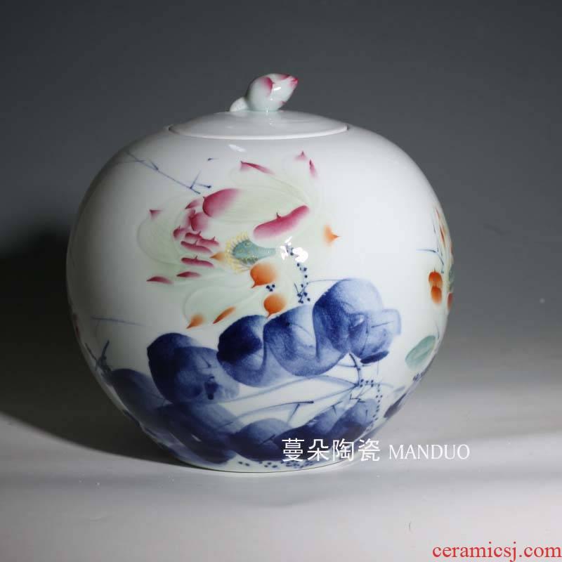 High - grade blue and white porcelain jar of hand - made of fine ceramic porcelain cover pot of green food seal pot decorative POTS