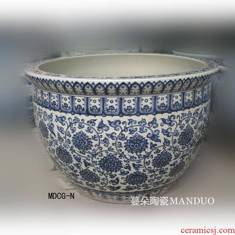 Jingdezhen antique checking painting porcelain vats 1 meter diameter cylinder China VAT 70 high around China hand