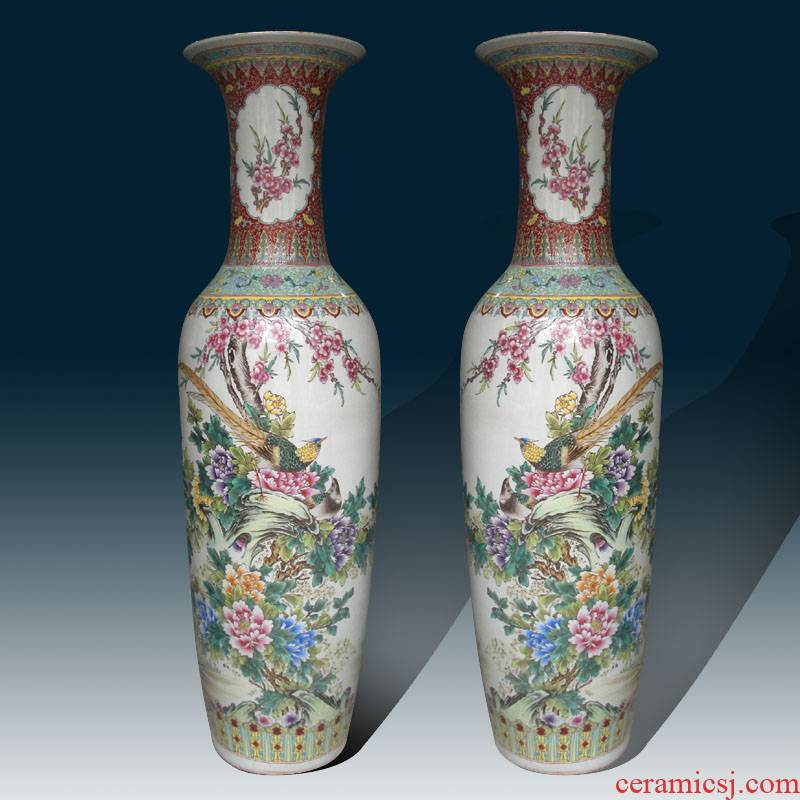 Jingdezhen hand - made of golden pheasant peony decorative vase peony decoration as 1.2 1.4 m high sitting room vase