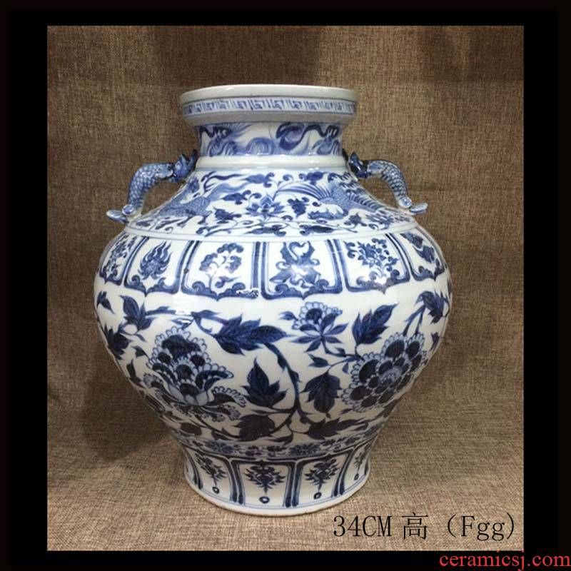 """Jingdezhen high imitation of the yuan dynasty hand - made ears big shrimp pot peony mei bottles of blue and white porcelain pitcher of high imitation """"according to the book"""