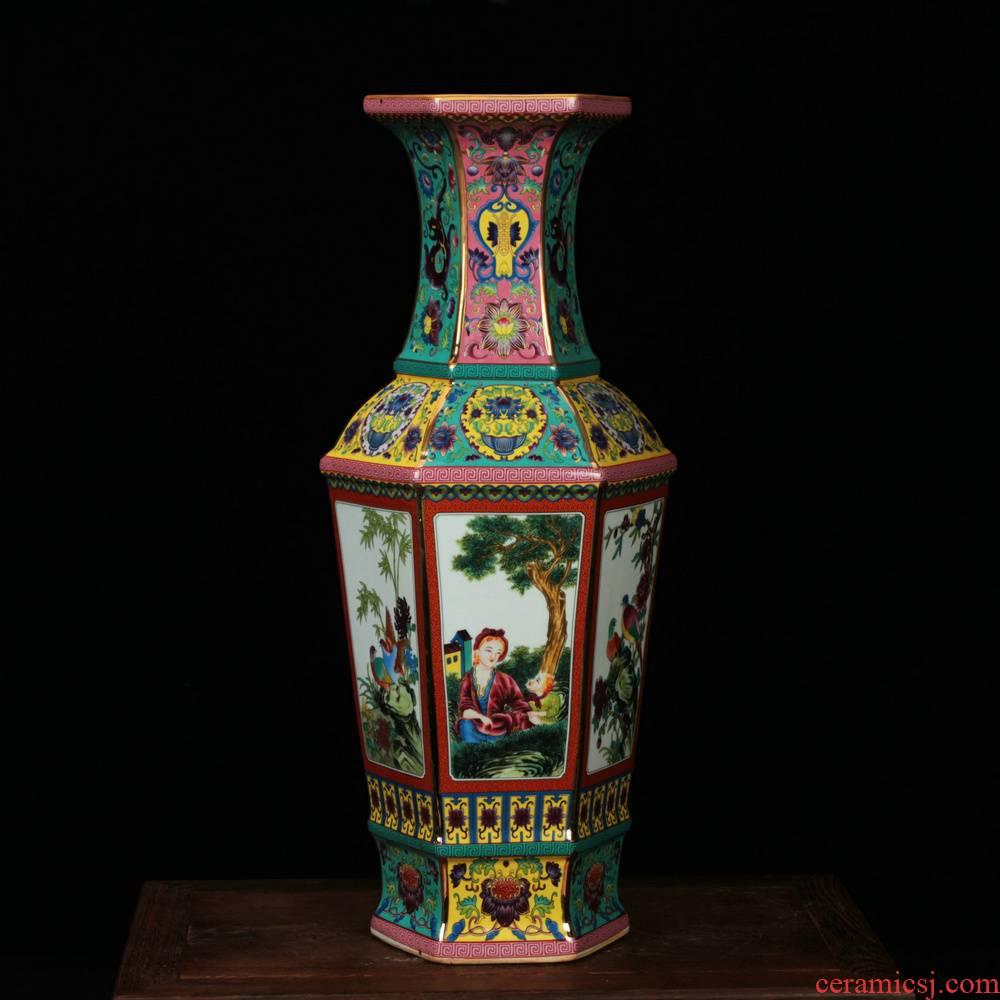 Jingdezhen ceramics, vases, antique green red hoard of enamel glaze Atlantic had six bottles of arts and crafts