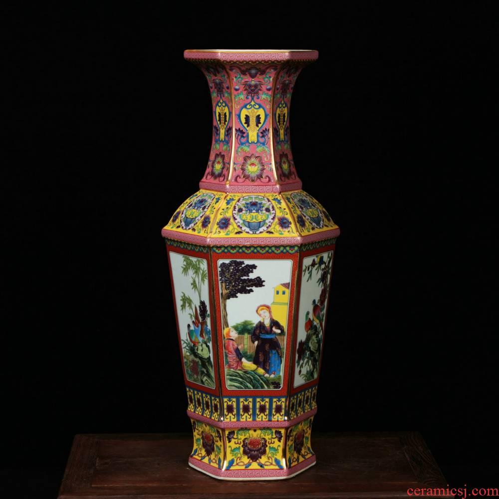 Classical jingdezhen ceramics vase archaize colored enamel had the six - party vase rich ancient frame decorative furnishing articles