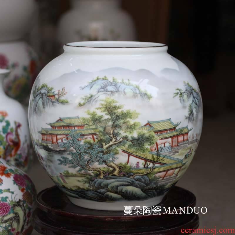 Jingdezhen modern new home decoration porcelain famille rose porcelain vase vase writing brush washer counter furnishing articles big vase