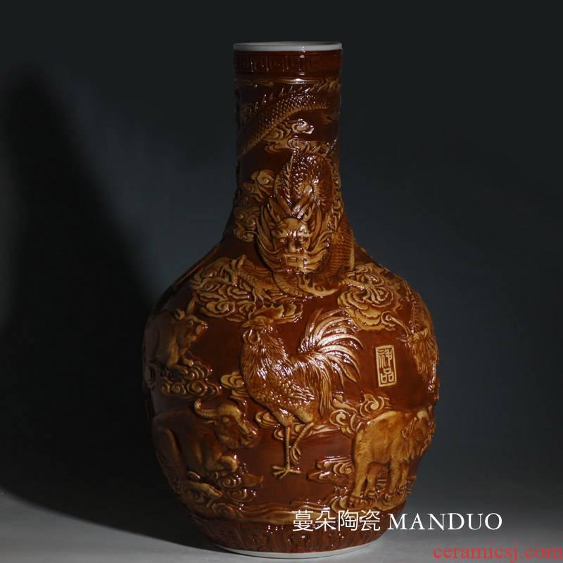 Jingdezhen anaglyph celestial zodiac porcelain vases, antique Chinese zodiac tree brown porcelain