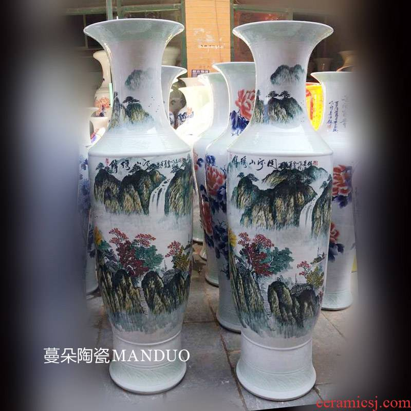 Jingdezhen hand - made scenery color landscape sitting room color vase hotel welcome at the gate of the vase