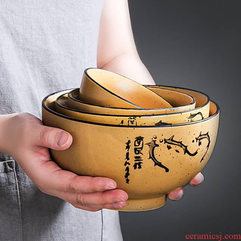 Creative household ceramic bowl noodles soup bowl prevent hot large rice bowls of jingdezhen cutlery Japanese - style contracted to eat bread and butter