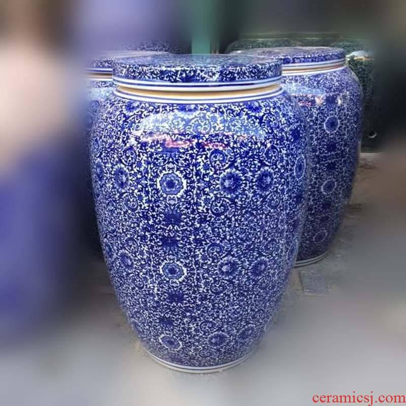 Archaize of jingdezhen blue and white porcelain pot flat lid meter as cans barrel 40-50 kilo meters pot
