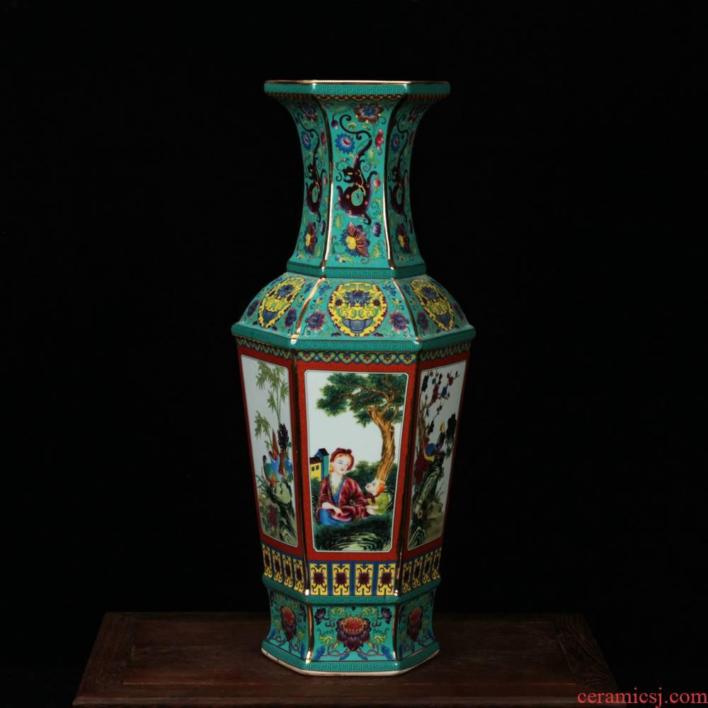 Jingdezhen ceramics, vases, antique turquoise enamel glaze Atlantic had the six - party vase crafts