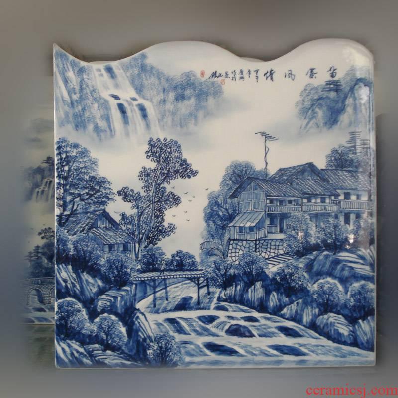 Jingdezhen blue and white vase square set is hand draw landscape square landscape high - grade hand - made mesa decorative vase