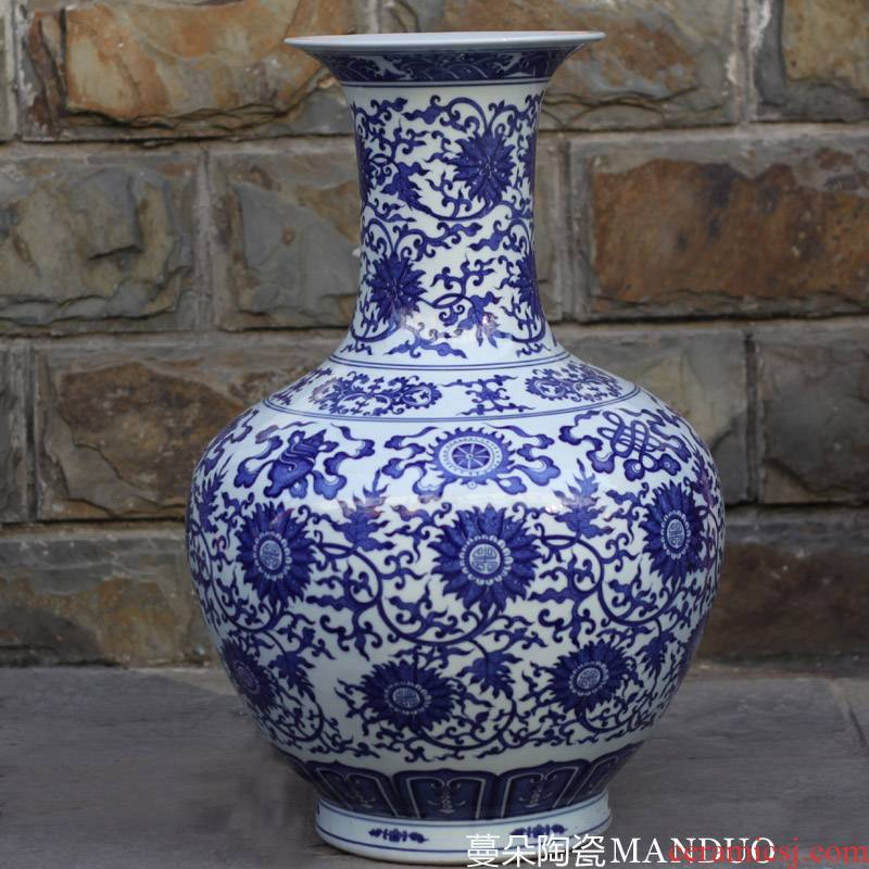 Blue and white 50 to 60 cm high porcelain design Blue and white porcelain branch lotus jingdezhen Blue and white porcelain porcelain goods