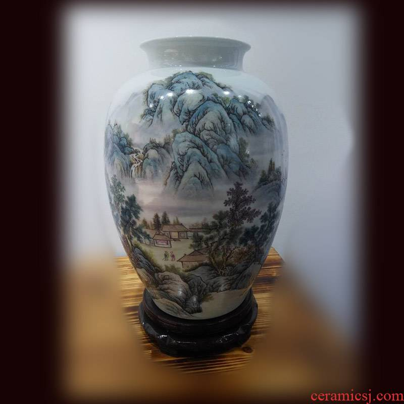 Jingdezhen collection gift of painting landscape powder enamel vase 50 cm high painting painting appreciation vase of pure painting