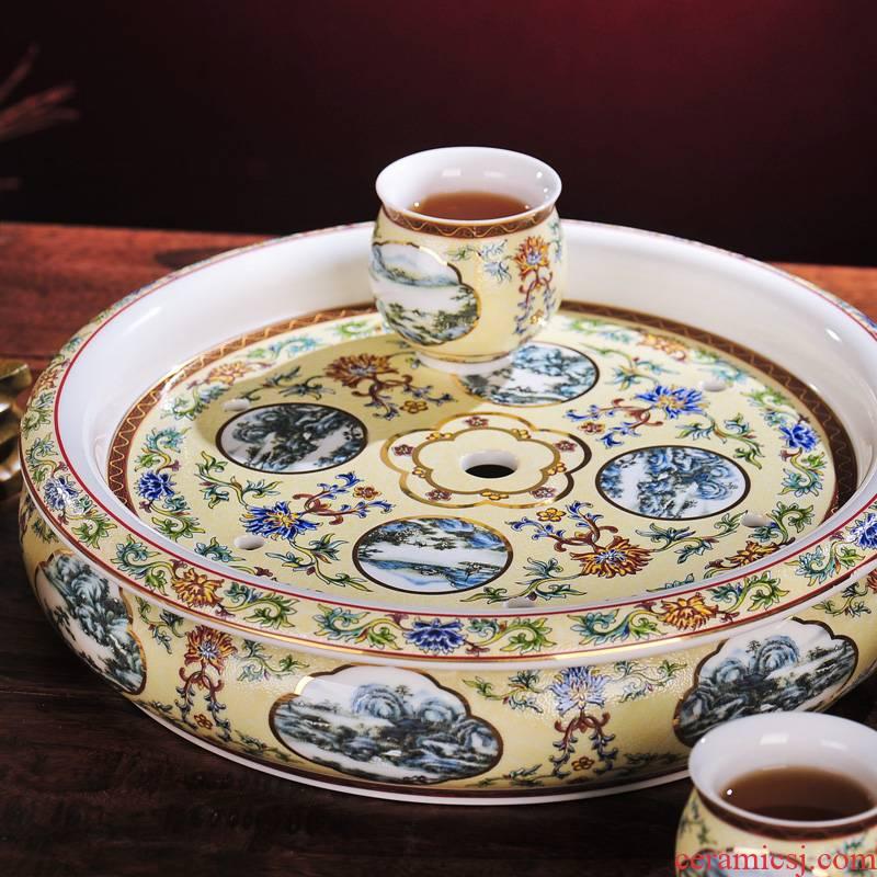 Red xin archaize of jingdezhen ceramics 8 head double tea set colored enamel pot cup tea tray