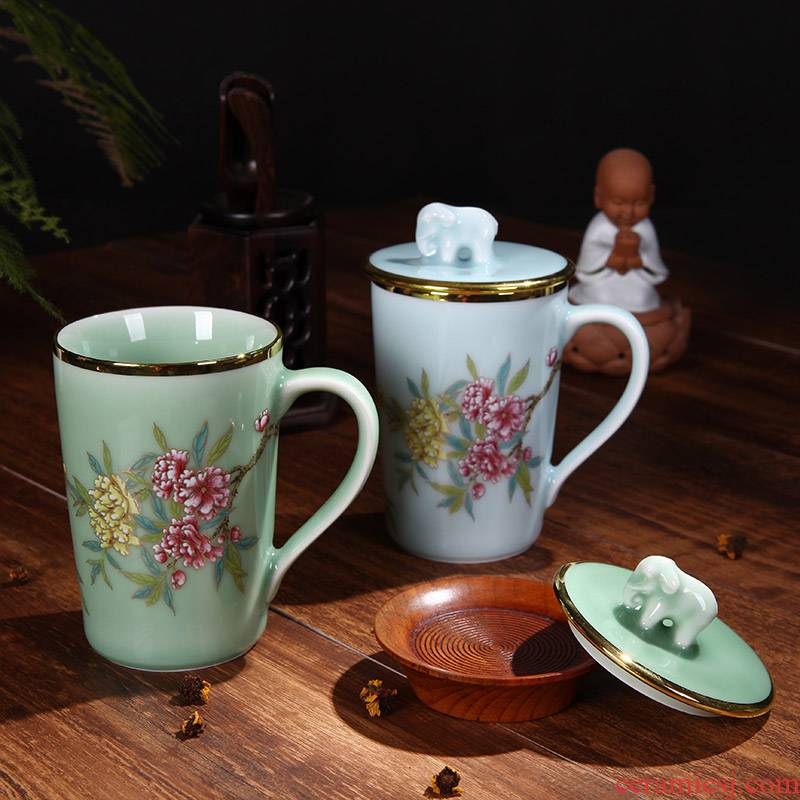 Red xin office tea jingdezhen ceramic tea set household with cover glass celadon keller single CPU