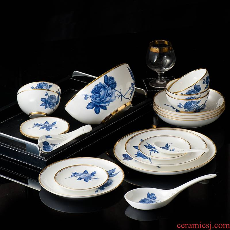 Chinese style household dishes suit jingdezhen porcelain tableware tableware suit 27 skull dishes gold, blue and white porcelain