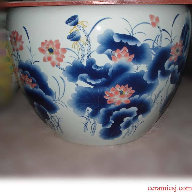 Big fish farming water lily cylinder cylinder courtyard lotus apple hand - made ceramic porcelain VAT VAT vats
