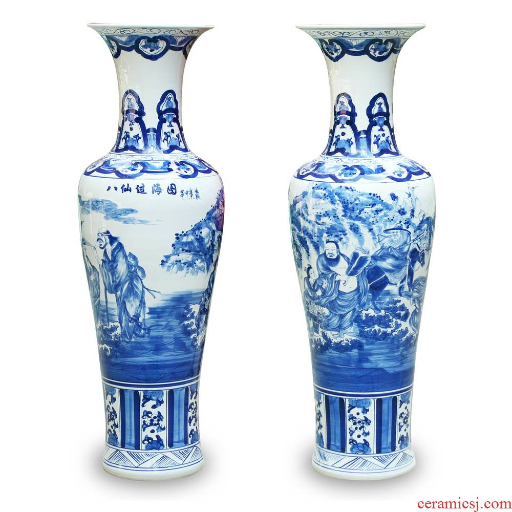 Hand - made sea of blue and white porcelain of jingdezhen ceramics vase of large sitting room hall decoration furnishing articles