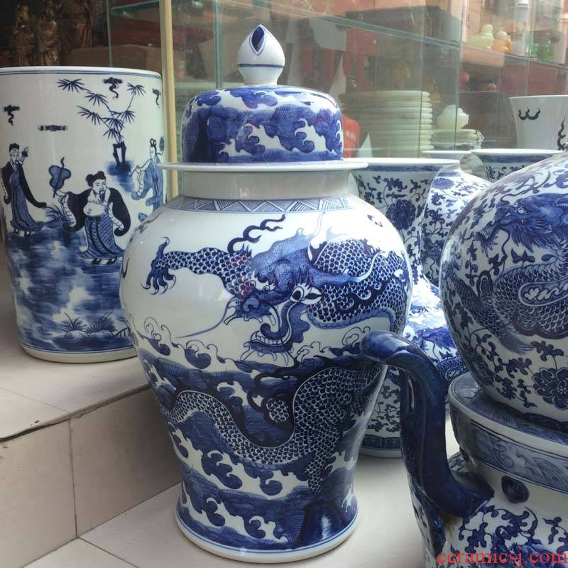 Jingdezhen blue and white dragon general hand - made porcelain jar of 56-70 cm general ab lines can new as cans