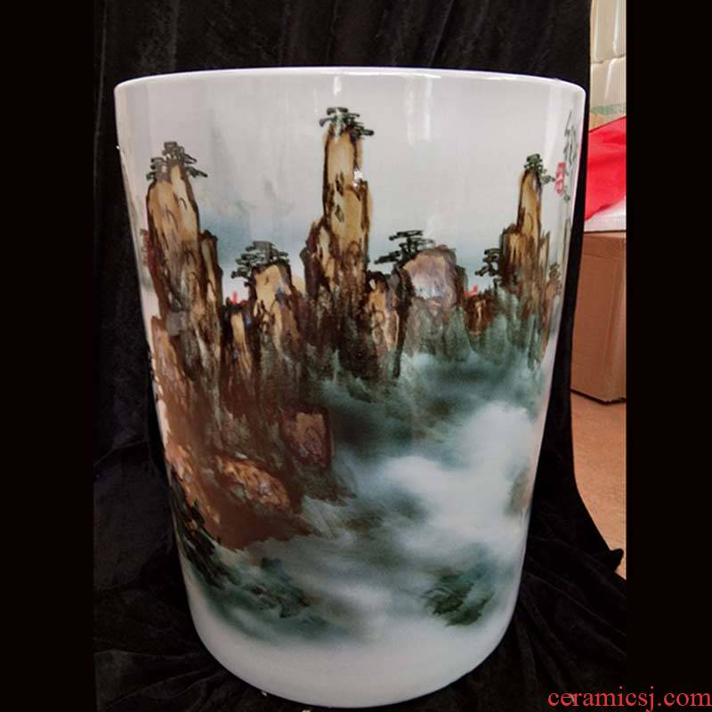 Jingdezhen hand - made straight huangshan quiver up porcelain vase painting and calligraphy cylinder up and vase