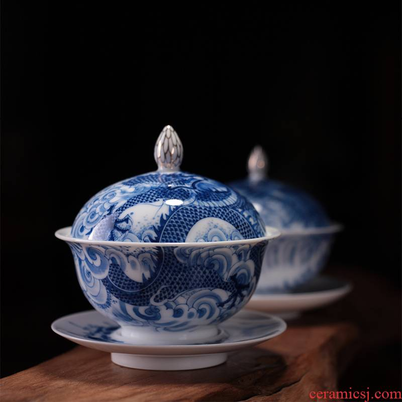 Blue longfeng couples tureen jingdezhen ceramic kung fu tea set teacups hand - made three bowl and cup collection