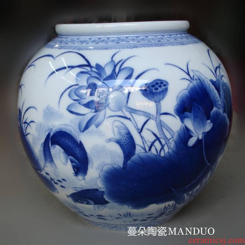 Jingdezhen porcelain lotus painting writing brush washer from double - sided double - sided porcelain painting the lantern fish writing brush washer display vase